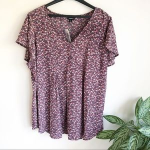 Torrid floral butterfly sleeve pin tucked blouse